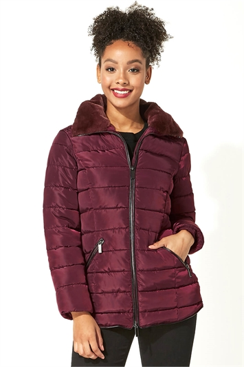 Wine Short Zip Through Padded Coat