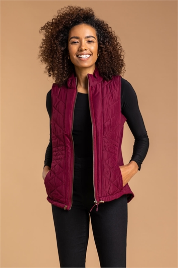 Bordeaux Quilted High Neck Gilet