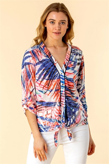 Burnout Palm Print Blouse
