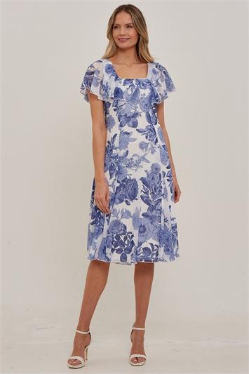 Julianna Floral Chiffon Cape Dress