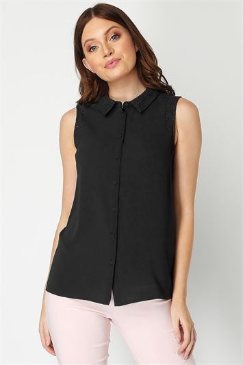 Sleeveless Lace Insert Shirt