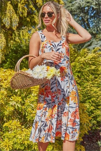 Floral Jacquard Panel Fit and Flare Dress