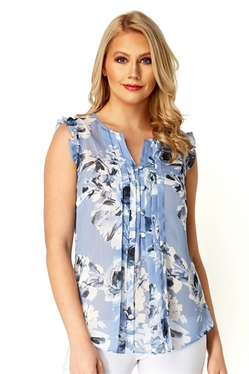 Pleated Floral Print Top