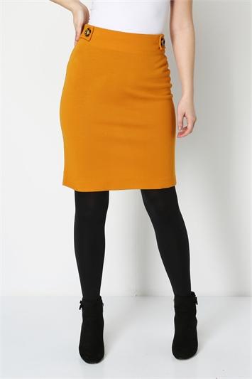 Button Detail Ponte Skirt
