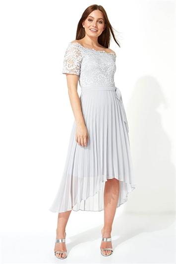 Lace Bardot Pleated Midi Dress