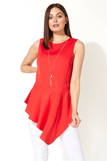 Asymmetric Necklace Peplum Top