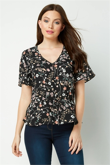 Floral Button Tea Blouse