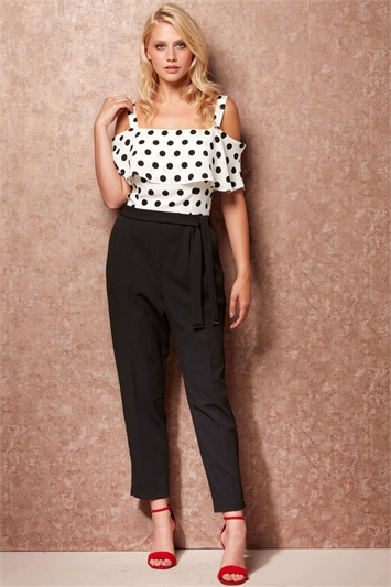 Polka Dot Print Cold Shoulder Jumpsuit