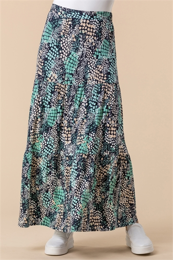 Abstract Snake Print Tiered Skirt