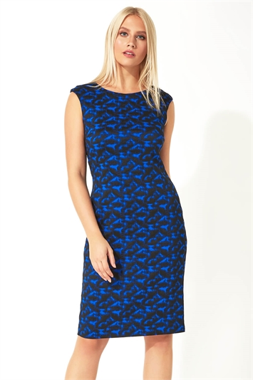 Abstract Animal Print Fitted Dress