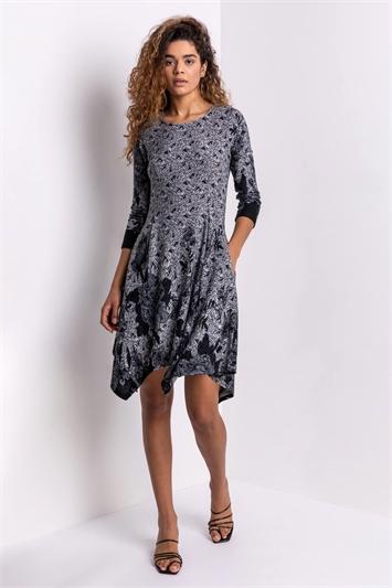 Grey Floral Border Print Hanky Hem Dress