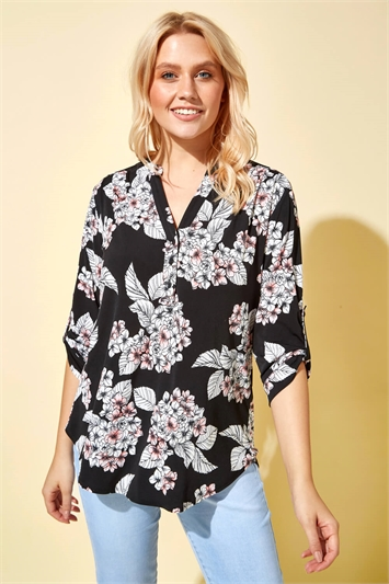 Coral Floral Cluster Print Notch Neck Top