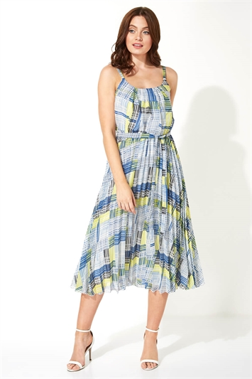 Check Print Pleated Midi Dress