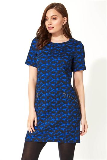 Royal Blue Abstract Zip Pocket Shift Dress, Image 1 of 5