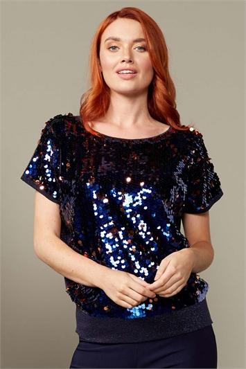 Sequin Front Knit Blouson Top