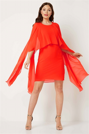 Chiffon Cold Shoulder Sleeve Dress