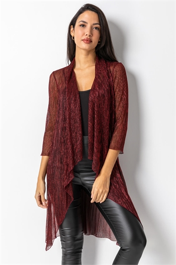Red Waterfall Plisse Cover Up Cardigan