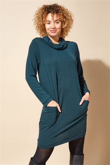 Forest Green Long Sleeve Cowl Neck Tunic Dress, Image 1 of 1