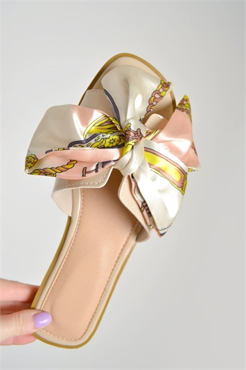 Scarf Print Bow Slider Sandals