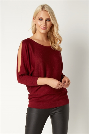 Lurex Split Sleeve Top