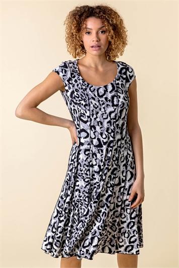 Animal Print Cap Sleeve Panel Dress