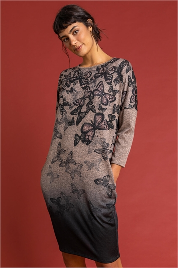 Biscuit Butterfly Print Embellished Slouch Dress, Image 1 of 4