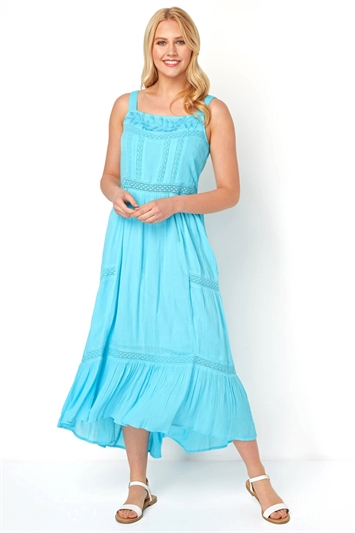 Ladder Lace Tiered Maxi Dress