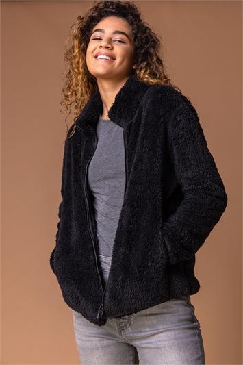 Black Soft Sherpa Fleece Jacket, Image 1 of 4