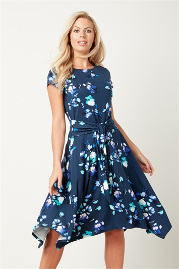 Floral Hanky Hem Fit and Flare Dress