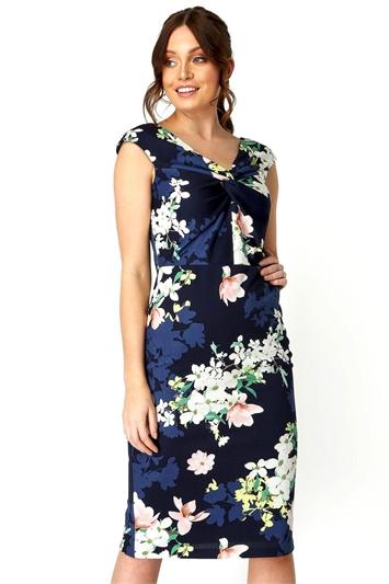 Twist Front Floral Print Dress