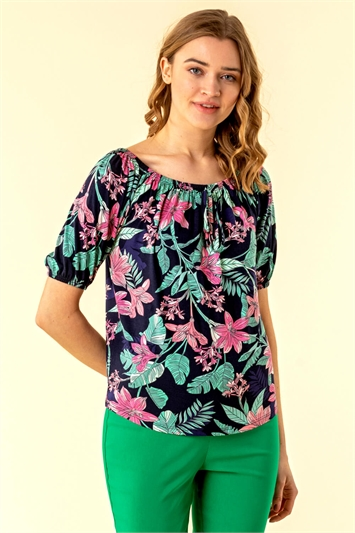 Tropical Floral Print Bardot Top