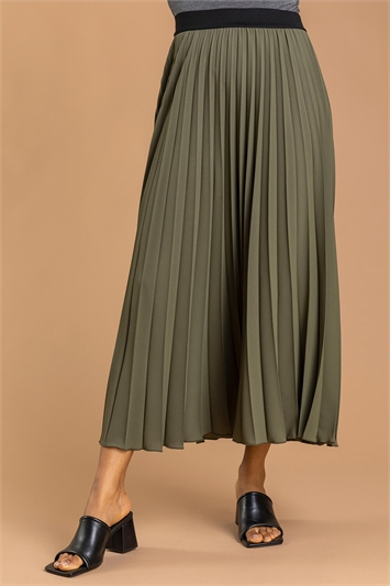 Khaki Pleated Maxi Skirt