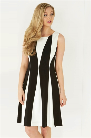 Colour Block Panel Fit and Flare Dress