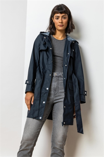 Navy Belted Raincoat With Hood, Image 1 of 5