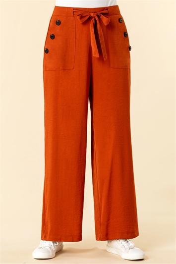 Button Detail Wide Leg Trouser
