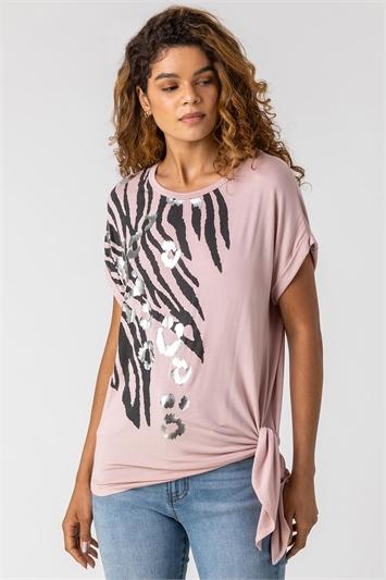 Light Pink Animal Print Foil T Shirt