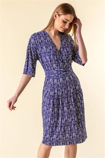 Abstract Stripe Print Wrap Dress