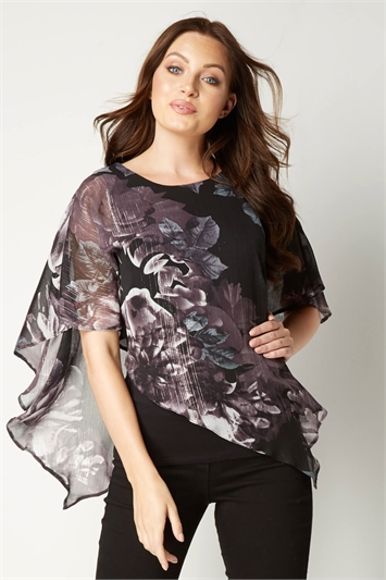 Metallic Floral Overlay Top