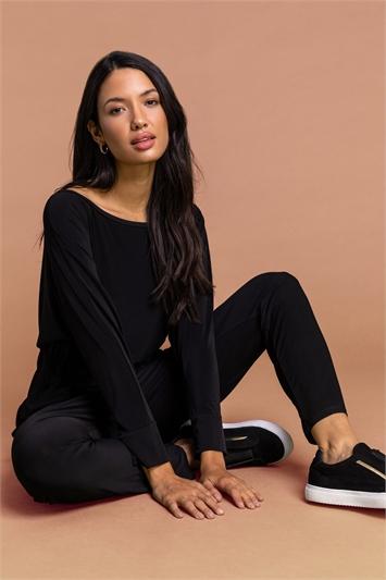 Black Tie Waist Jersey Jumpsuit