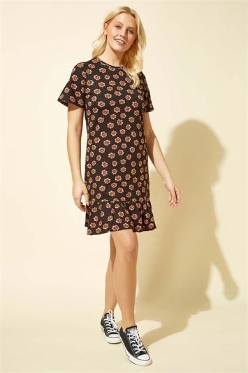 Black Floral Print Frill Hem Dress