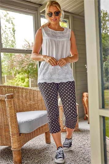 Spot Cropped Stretch Trousers