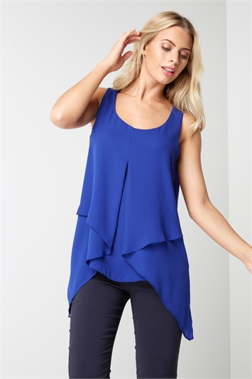 Sleeveless Asymmetric Hem Top