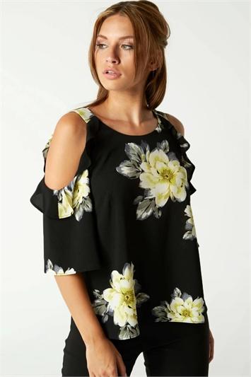 Floral Cold Shoulder Frill Top