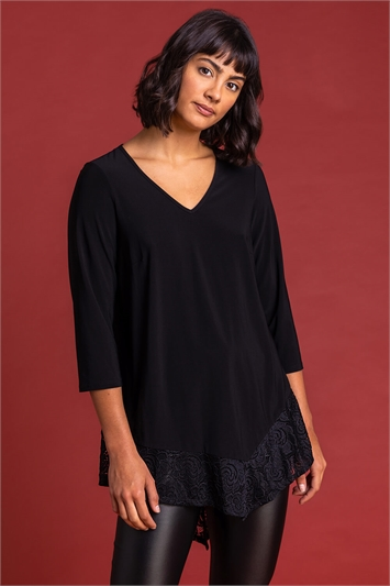 Black Asymmetric Lace Hem Jersey Top
