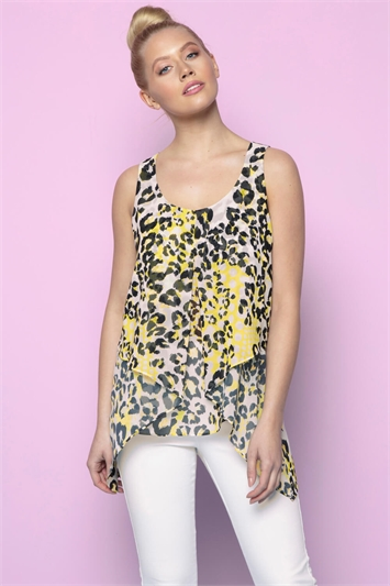 Animal Print Asymmetric Chiffon Vest Top