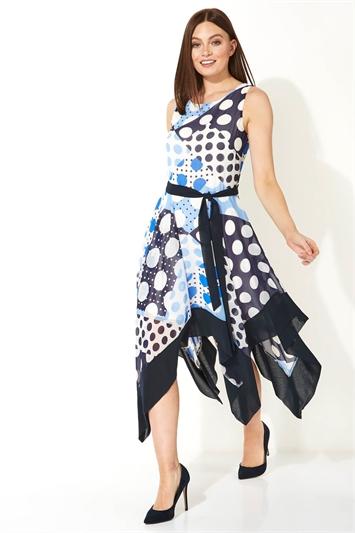 Blue Spot Hanky Hem Midi Dress