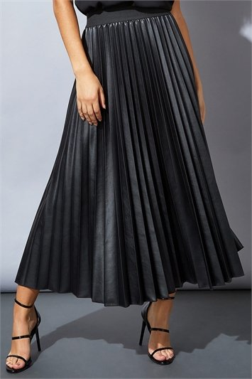 Faux Leather Pleated Maxi Skirt
