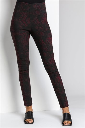 Bordeaux Snake Print Full Length Stretch Trousers, Image 1 of 4