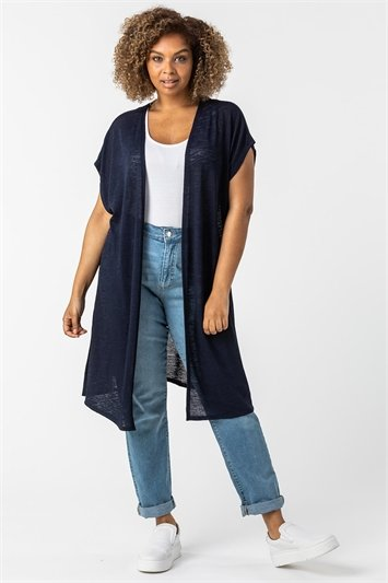 Curve Cap Sleeve Longline Cardigan