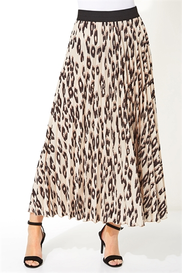 Animal Print Pleated Maxi Skirt